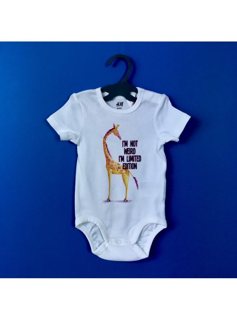 Giraffe I AM Бебешко Боди С Дизайнерски Принт