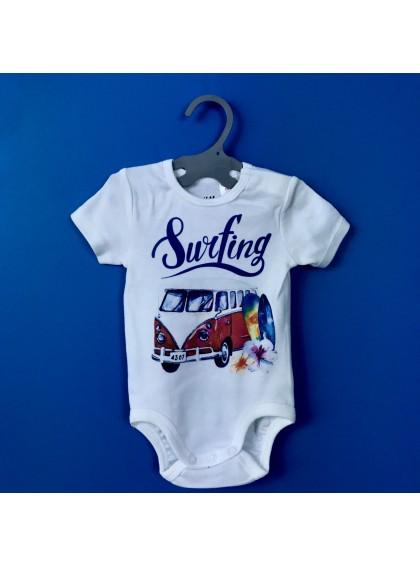 Surf Bus Red Бебешко Боди С Дизайнерски Принт