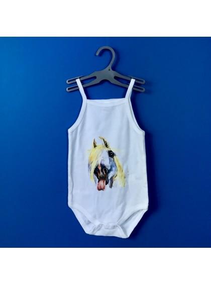 Aquarelle Horse Бебешко Боди С Тънки Презрамки И Дизайнерски Принт