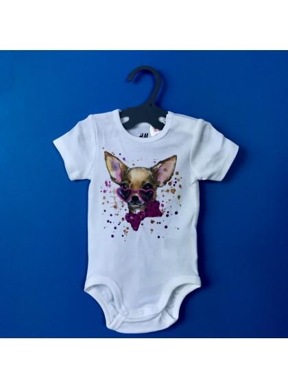 Aquarelle Chihuahua Бебешко Боди С Дизайнерски Принт