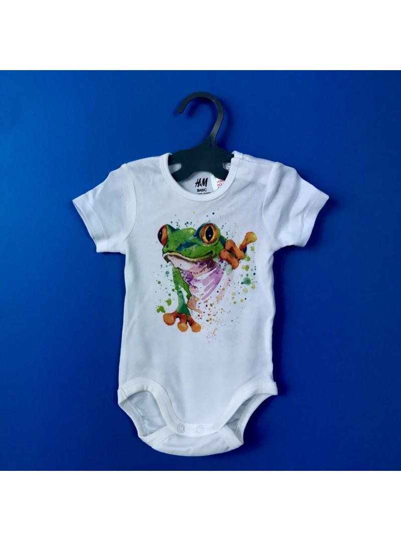Aquarelle Frog Бебешко Боди С Дизайнерски Принт