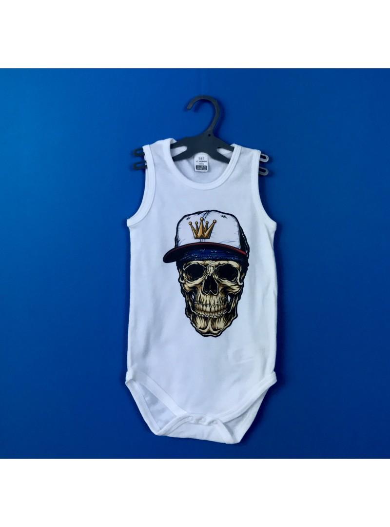 Hip-Hop Skull Бебешко Боди Без Ръкав С Дизайнерски Принт