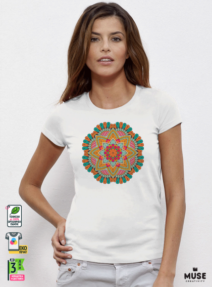 Mandala Red дамска бяла тениска с дизайнерски принт