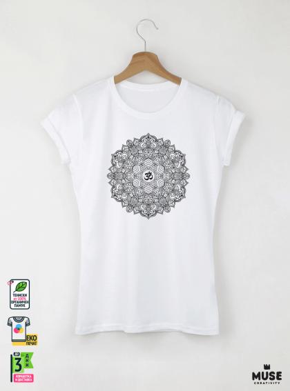 Mandala S дамска бяла тениска с дизайнерски принт