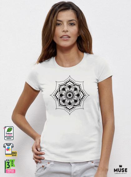 Mandala G дамска бяла тениска с дизайнерски принт