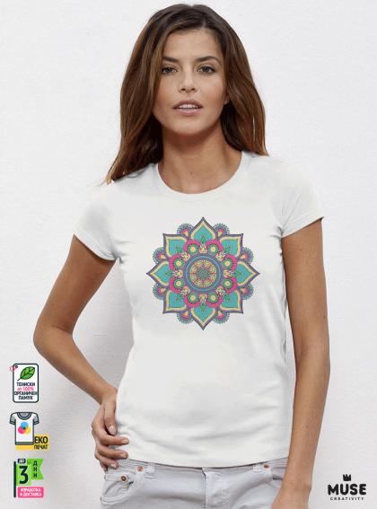 Mandala Green дамска бяла тениска с дизайнерски принт
