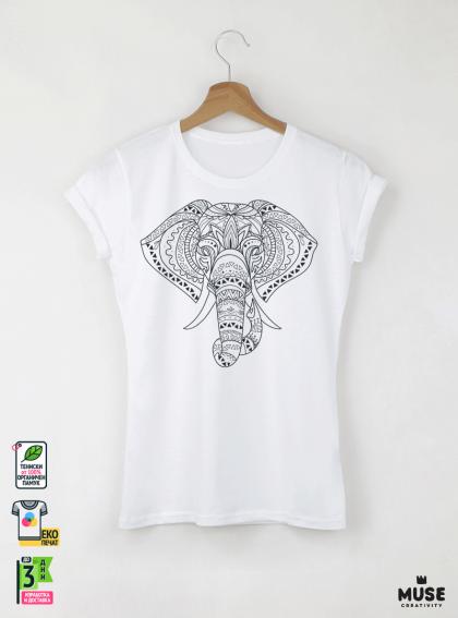 Elephant Mandala Дамска бяла тениска с дизайнерски принт
