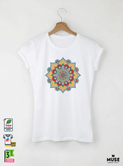 Mandala Y дамска бяла тениска с дизайнерски принт