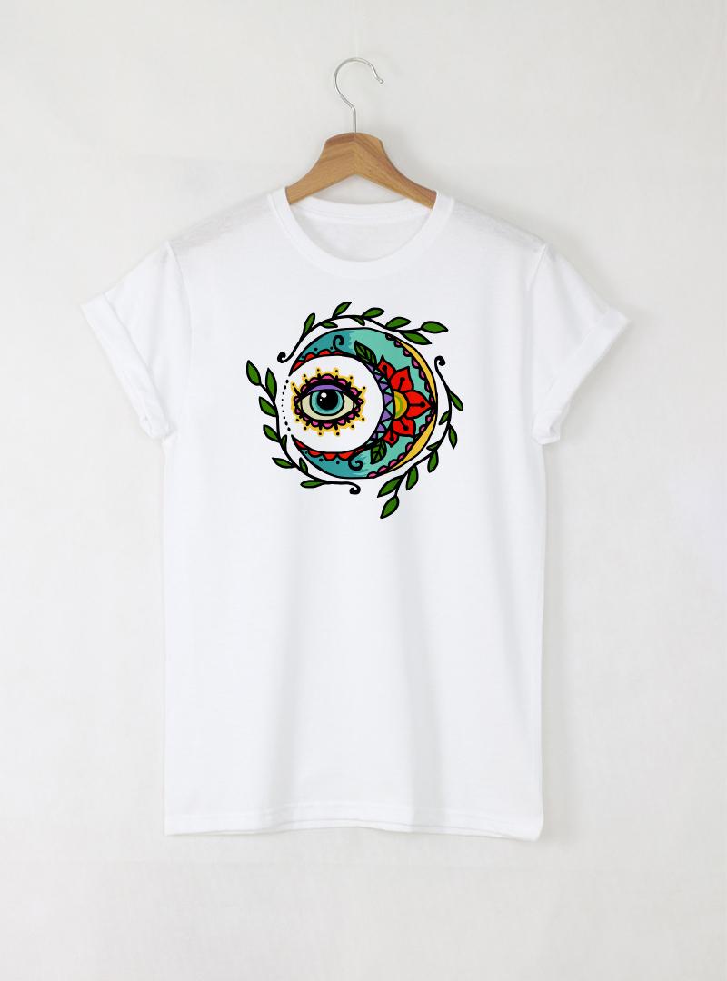 Moon ART Дамска бяла тениска с дизайнерски принт