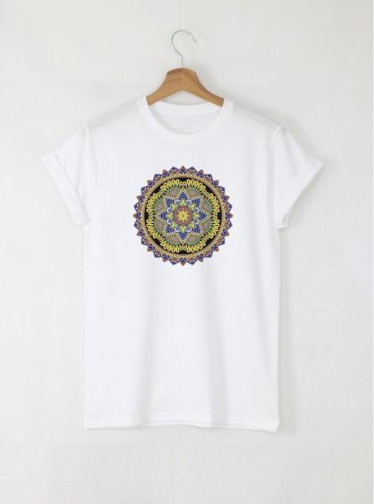 Mandala Gi дамска бяла тениска с дизайнерски принт