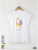 Giraffe I AM Дамска бяла тениска с дизайнерски принт Азиатски Размер