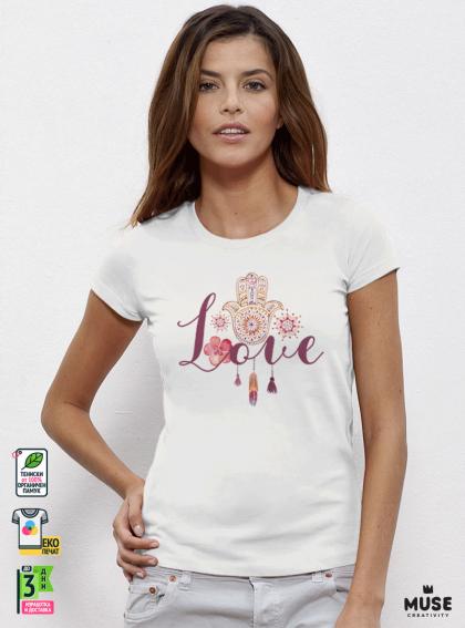 Fatima Love Акварел Дамска Бяла Тениска с дизайнерски принт