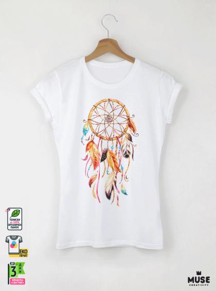 Dreamcatcher Акварел Детска Бяла Тениска За Момиче С Дизайнерски Принт