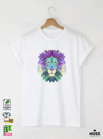 Colorful Lion детска бяла тениска за момче с дизайнерски принт