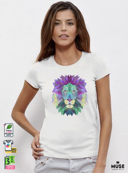 Colorful Lion дамска бяла тениска с дизайнерски принт Азиатски Размер