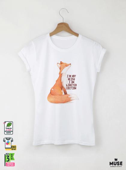 Fox I AM Детска бяла тениска за момиче с дизайнерски принт