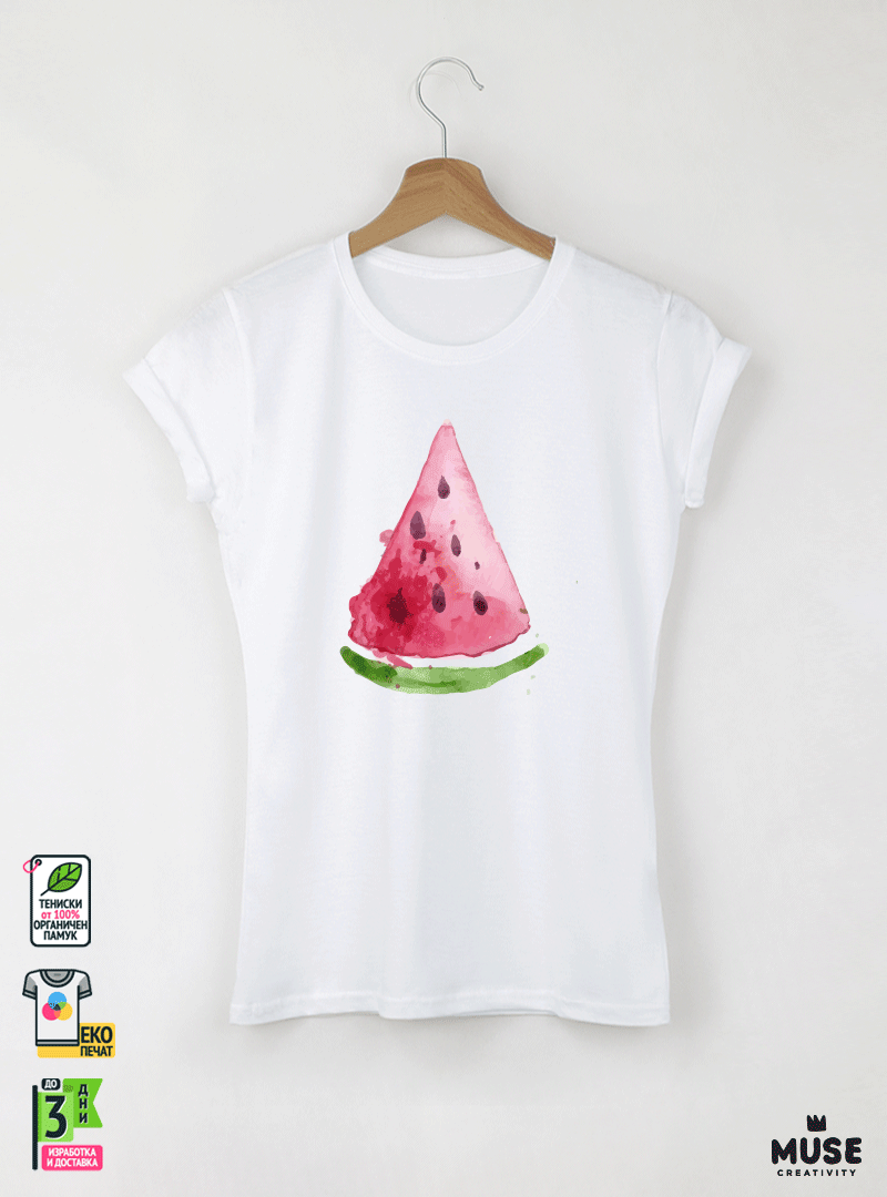 Watermelon Slice Aquarelle Дамска бяла тениска с дизайнерски принт Азиатски Размер