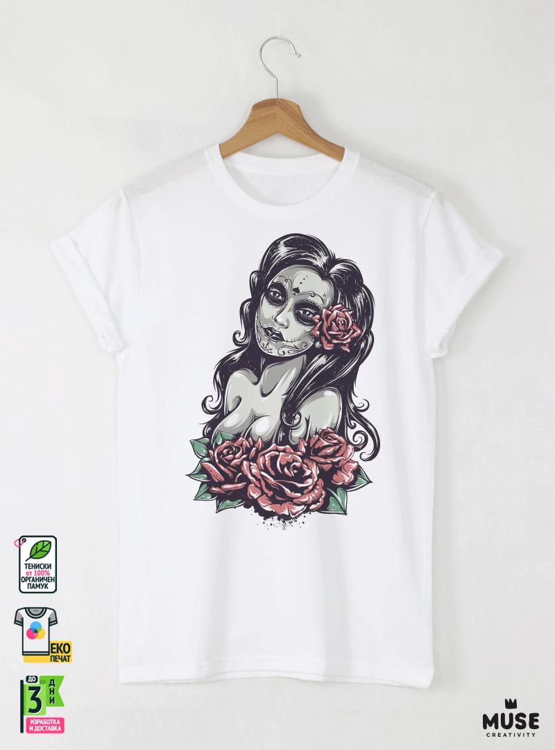 Dead Girl Day Мъжка Бяла Тениска с Дизайнерски Принт