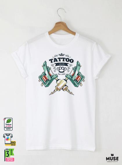 Tattoo Style Мъжка Бяла Тениска С Дизайнерски Принт Азиатски размер