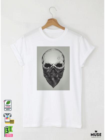 Skull Bandit Black мъжка бяла тениска с дизайнерски принт череп
