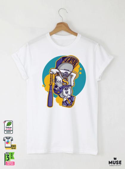 Skate Gang Детска Бяла Тениска за момче с Дизайнерски Принт