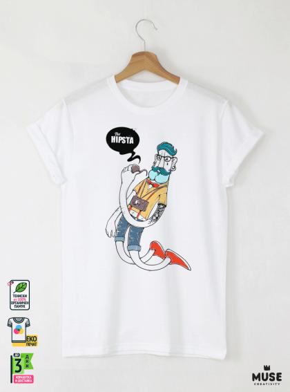 Hipster Hip Мъжка Бяла Тениска С Дизайнерски Принт Азиатски размер
