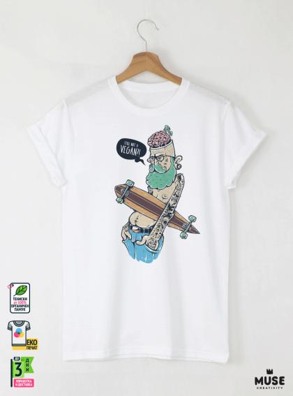 Hipster Long Мъжка Бяла Тениска с Дизайнерски Принт