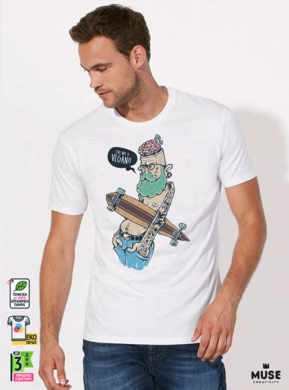 Hipster Long Мъжка Бяла Тениска С Дизайнерски Принт Азиатски размер