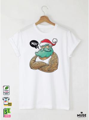 Hipster Santa Мъжка Бяла Тениска с Дизайнерски Принт