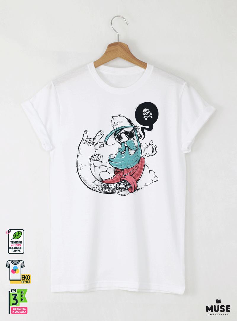 Hipster True Детска Бяла Тениска за момче с Дизайнерски Принт