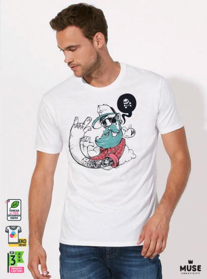 Hipster True Мъжка Бяла Тениска С Дизайнерски Принт Азиатски размер