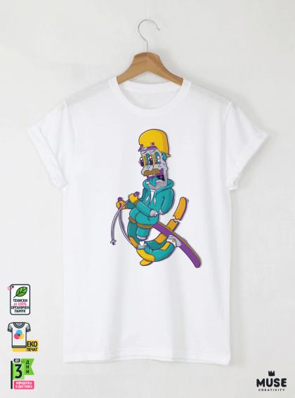 Ski Graffiti Boy Мъжка Бяла Тениска С Дизайнерски Принт Азиатски размер