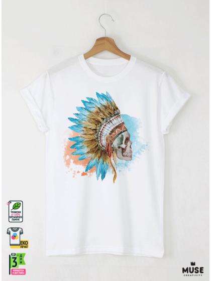 Skull Aquarelle Мъжка Бяла Тениска с Дизайнерски Принт