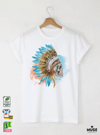 Skull Aquarelle Детска Бяла Тениска За Момче с Дизайнерски Принт
