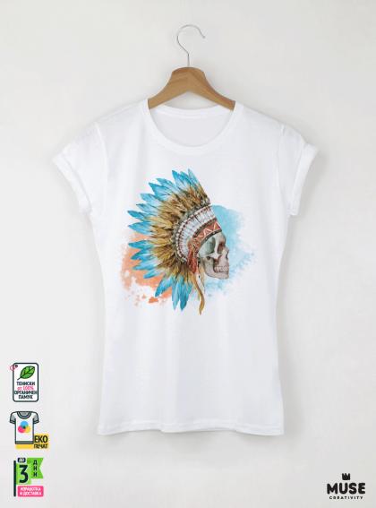 Skull Aquarelle Дамска Бяла Тениска с Дизайнерски Принт