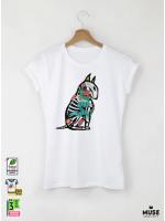 Bull Terrier Дамска Бяла Тениска с Дизайнерски Принт