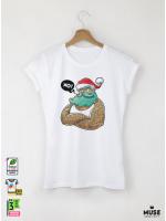 Hipster Santa Дамска Бяла Тениска с Дизайнерски Принт