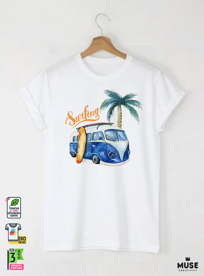 Surf Bus Blue Мъжка Бяла Тениска с Дизайнерски Принт Азиатски Размер
