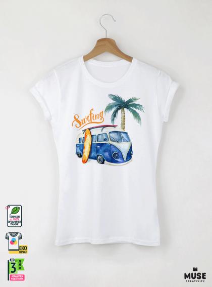 Surf Bus Blue Детска Бяла Тениска за момиче с Дизайнерски Принт