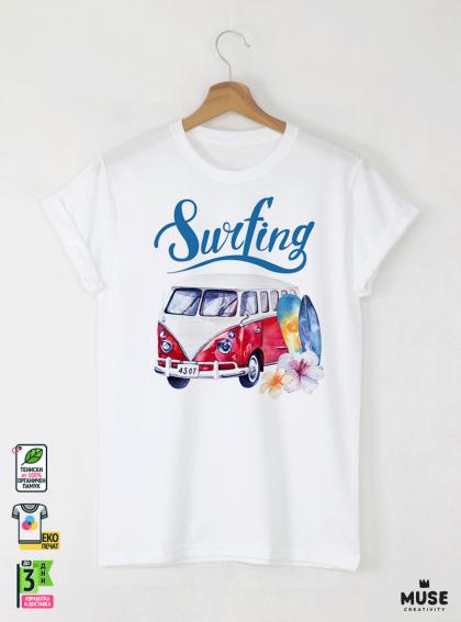 Surf Bus Red Мъжка Бяла Тениска с Дизайнерски Принт Азиатски Размер