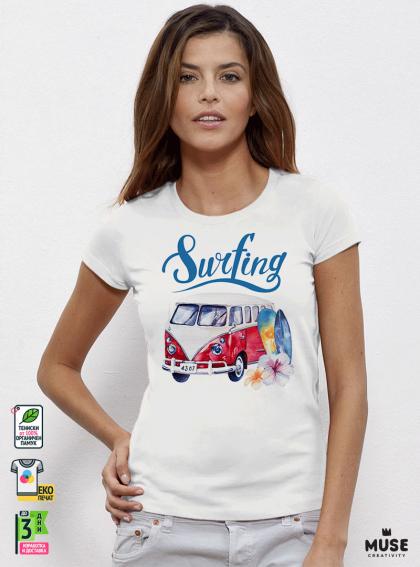 Surf Bus Red Дамска Бяла Тениска с Дизайнерски Принт Азиатски Размер