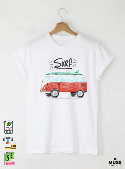 Surf Bus Мъжка Бяла Тениска с Дизайнерски Принт