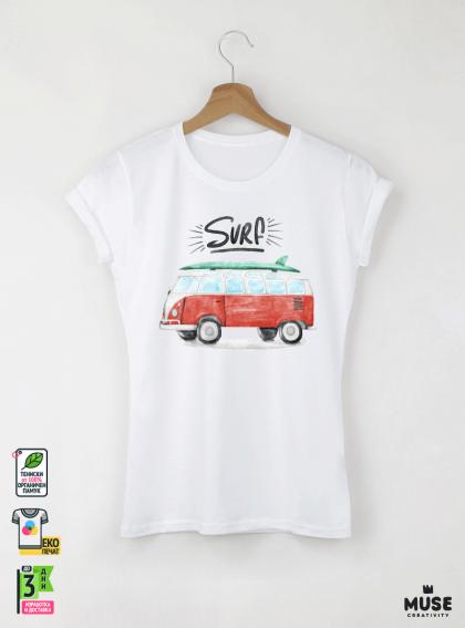 Surf Bus Дамска Бяла Тениска с Дизайнерски Принт