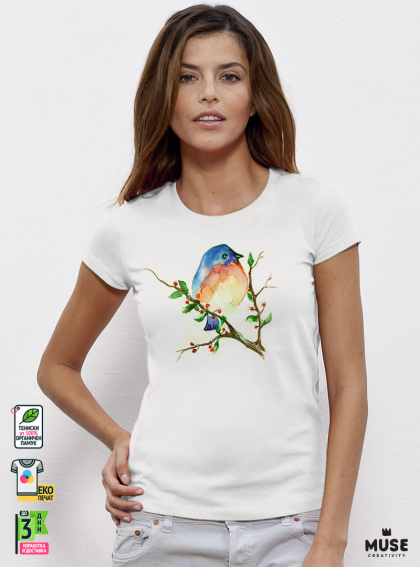 Aquarelle Bird Дамска бяла тениска с дизайнерски принт