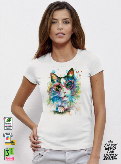 Aquarelle Cat Дамска бяла тениска с дизайнерски принт