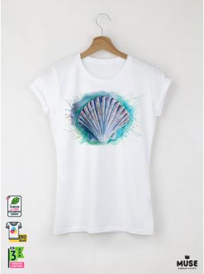 Aquarelle Scallop Shell Дамска бяла тениска с дизайнерски принт