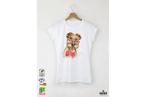 Aquarelle Terrier Дамска бяла тениска с дизайнерски принт