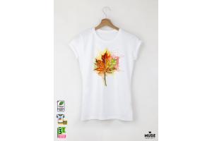 Aquarelle Autumn Leaf Дамска бяла тениска с дизайнерски принт