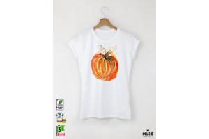 Aquarelle Pumpkin Дамска бяла тениска с дизайнерски принт