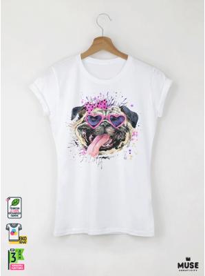 Aquarelle Mops Дамска бяла тениска с дизайнерски принт